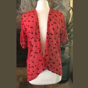 LuLaRoe Bianka Kimono Size 3 Red With Black Bowtie